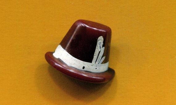 Brown Bakelite Hat Button
