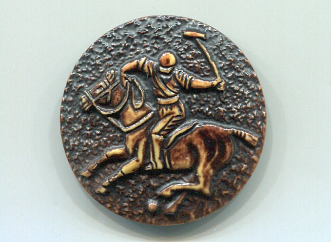 Large One-Piece 1930's Celluloid Polo Player Button