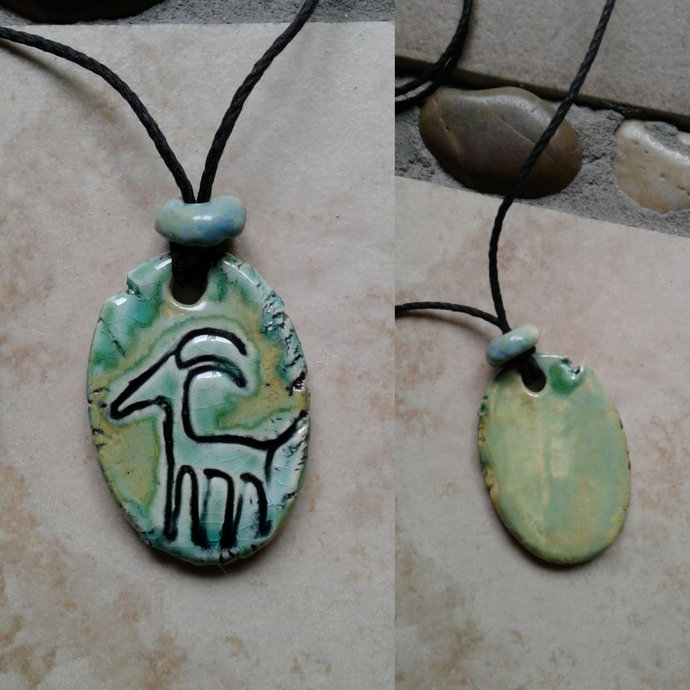 Antelope Petroglyph Necklace Ancient Symbol Pendant Ceramic Native American Deer