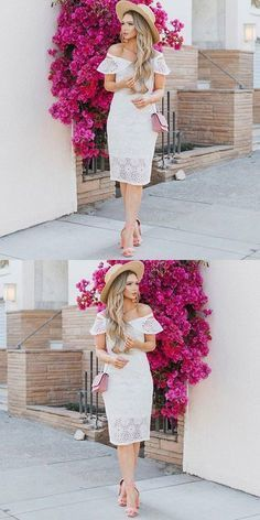 Sheath Off The Shoulder White Lace Homecoming Dress