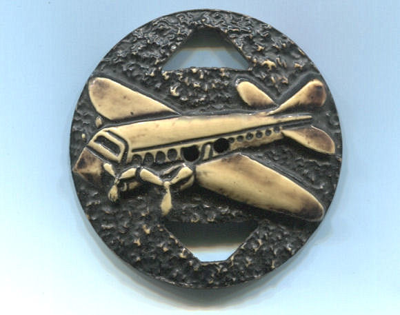 Large One-Piece 1930's Celluloid Airplane Button