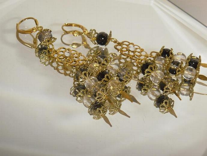 black & clear Glass bead cascading chandelier earrings gold lever back