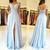 Beautiful Light Blue  Slit Chiffon Lace Prom Dress, Girls Party Gown