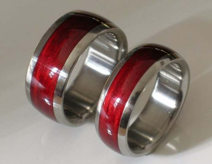 Titanium Bevelled Edges His and Hers  Cherry Ring Set