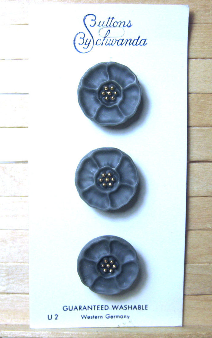 """Card of 11/16"""" Gray Glass Buttons with Gold Luster 7678-8"""