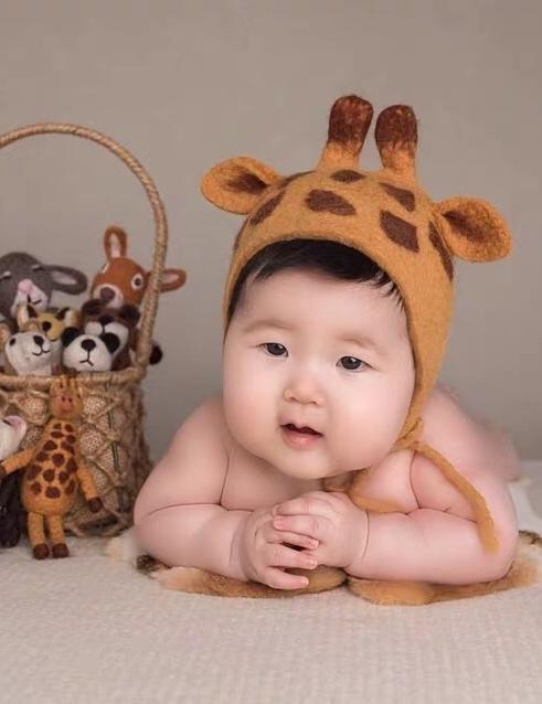 Giraffe  head Shape Hat/ Baby Bonnet -- Hand Wet Felted Wool Hat Bonnet