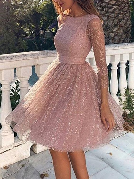 Pink Sequin Glitter Sparkly Grenadine Backless Long Sleeve Elegant Bridesmaid