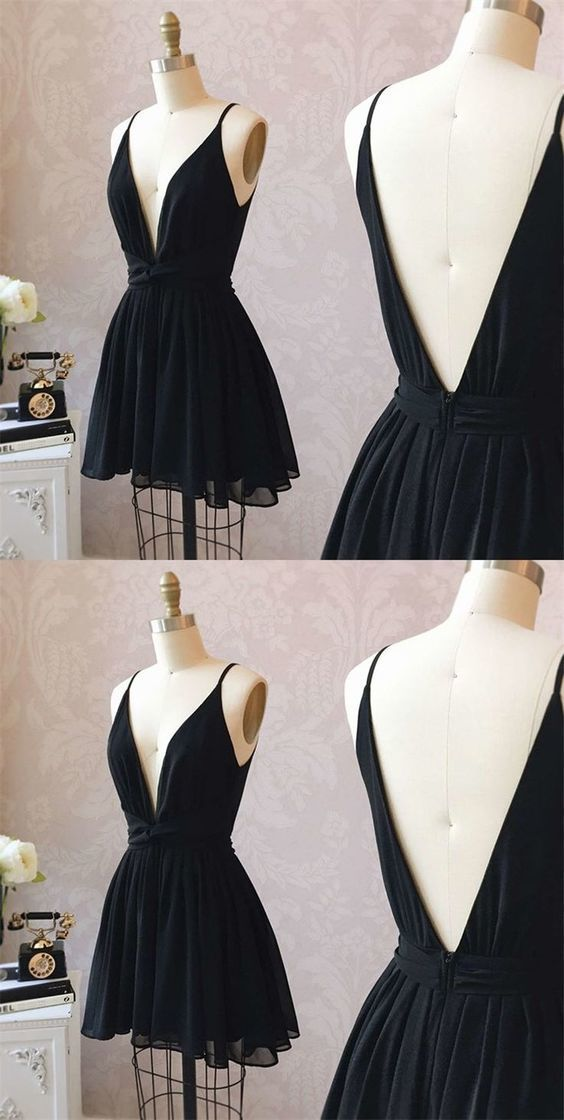 Cute Homecoming Dress,Black Homecoming Dress,Chiffon Homecoming Dress,Short