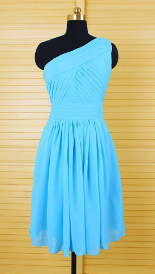 Charming Homecoming Dress,Chiffon Homecoming Dress,One-Shoulder Homecoming Dress