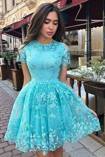 A Line Short Sleeve Lace Homecoming Dress, Charming Short Prom Dress with Short