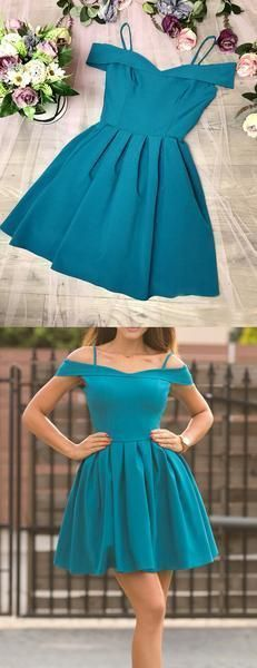 Turquoise Satin Off Shoulder Spaghetti Strap Homecoming Dresses