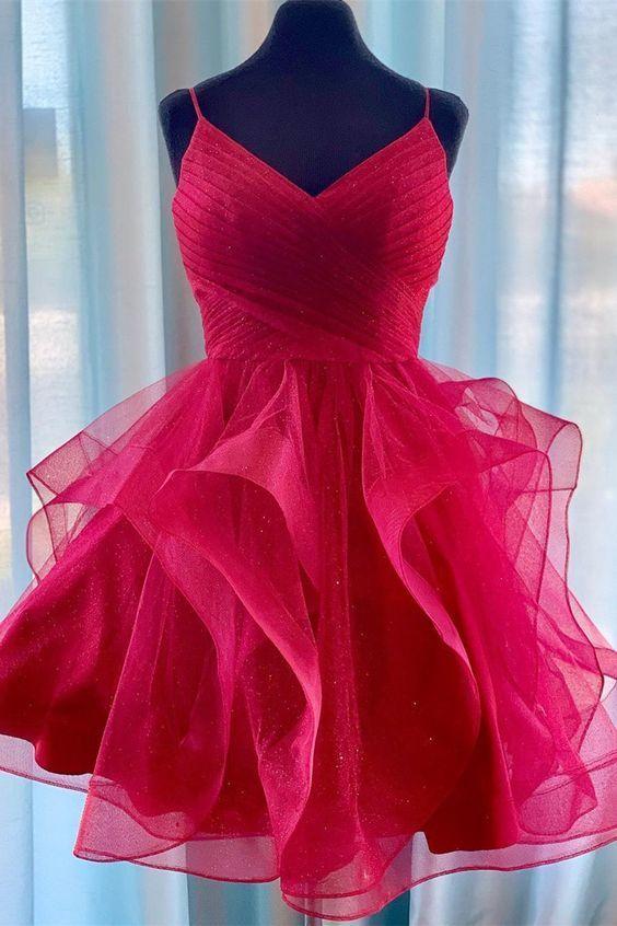 Princess Red Homecoming Dress with Ruffles, Short Homecoming Dresses 2019