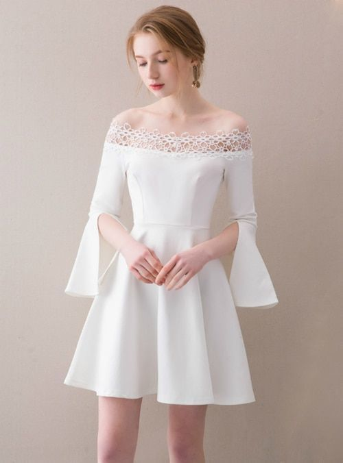 White Off The Shoulder Satin Homecoming Dress
