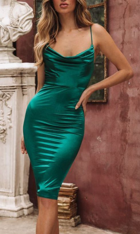 Sexy Fitted Emerald Green Evening Dresses