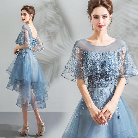 Half Sleeve Irregular Hem Homecoming Dress
