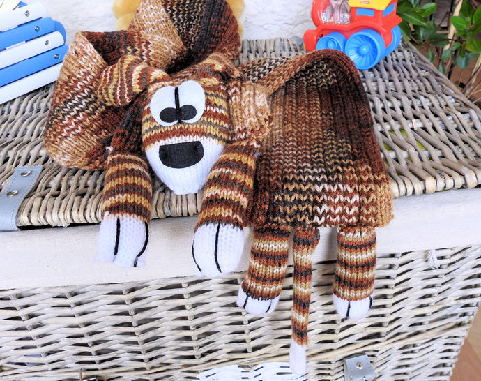 Hand Knitted Child's Brown Random Coloured Dog Scarf - FREE SHIPPING