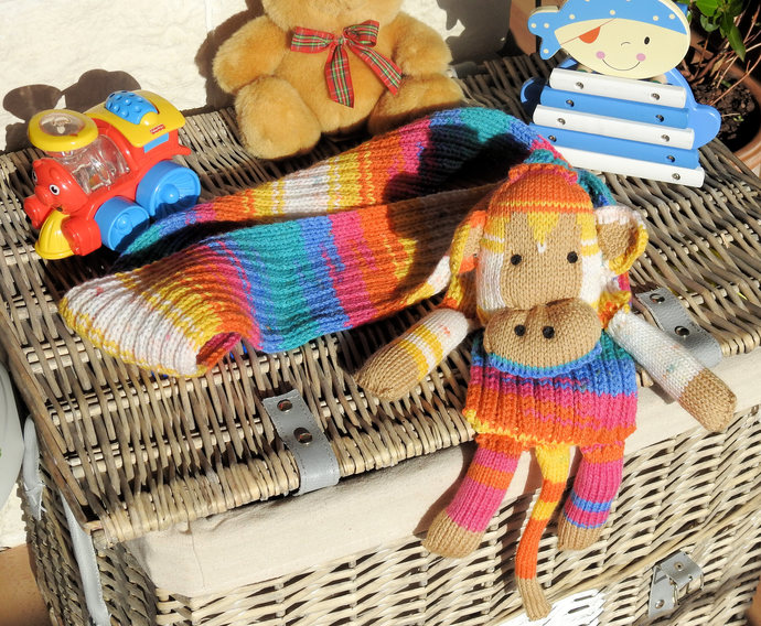 Hand Knitted Bright Multicoloured Child's Monkey Scarf - FREE SHIPPING