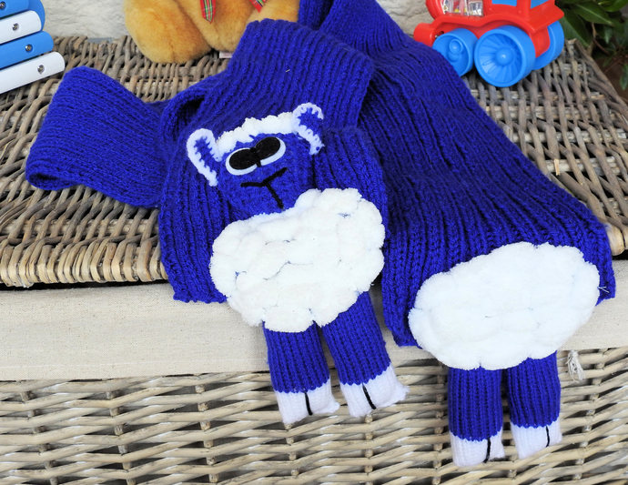 Hand Knitted Child's Bright Blue Lamb Scarf - FREE SHIPPING