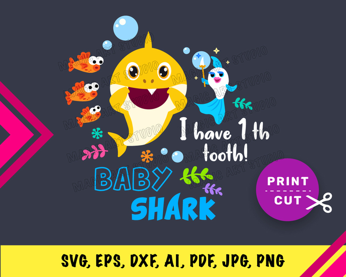 Baby Shark  INSTANT DOWNLOAD (SVG, eps, dxf, ai, pdf, jpg, png, cutting file)