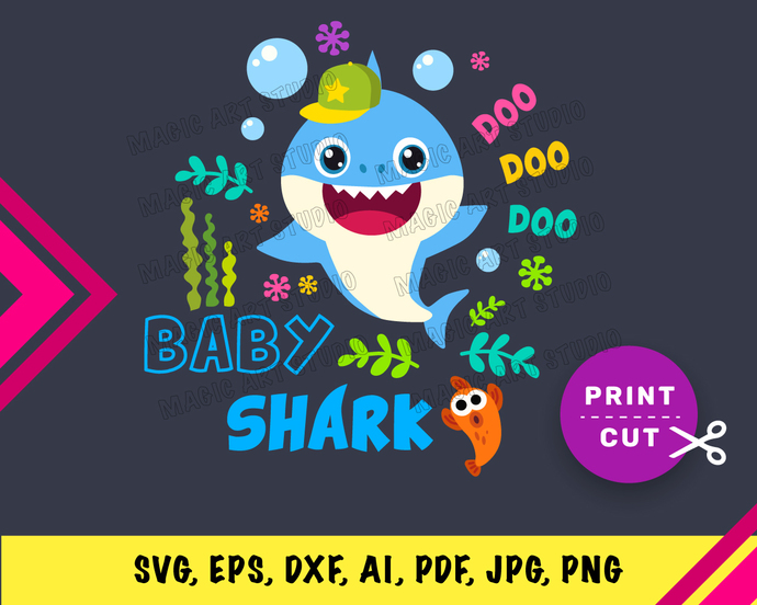 Baby Shark Boy  INSTANT DOWNLOAD (SVG, eps, dxf, ai, pdf, jpg, png, cutting