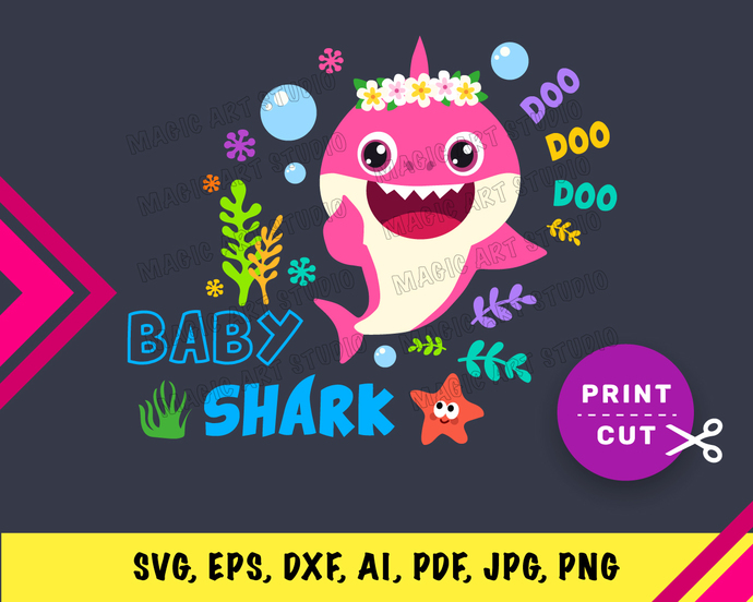 Baby Shark Gerl Flower  INSTANT DOWNLOAD (SVG, eps, dxf, ai, pdf, jpg, png,