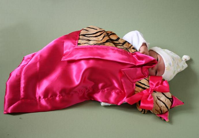 Tiger Cat Lovey Blanket, Satin, Baby Blanket, Stuffed Animal, Baby Toy -