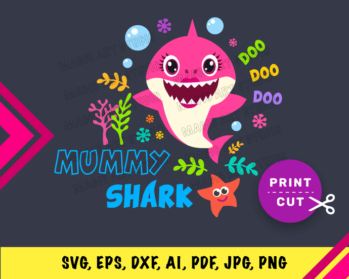 Baby Shark Mummy  INSTANT DOWNLOAD (SVG, eps, dxf, ai, pdf, jpg, png, cutting