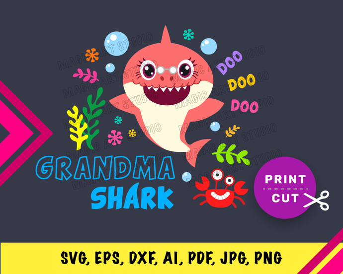 Baby Shark Grandma  INSTANT DOWNLOAD (SVG, eps, dxf, ai, pdf, jpg, png, cutting