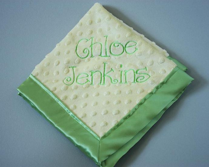 Build Your Own Custom Embroidered Minky Satin Security Blanket, Lovey Lovie