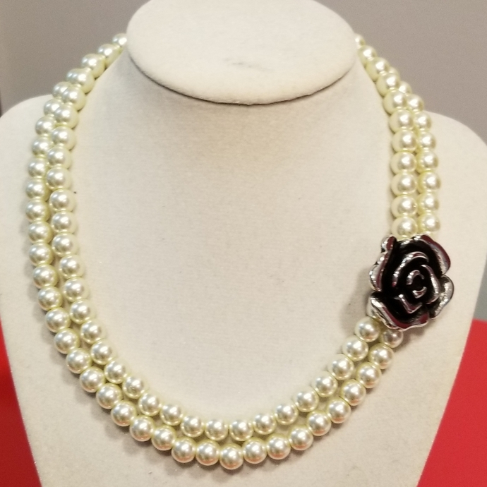 Wedding necklace inspired by chanel style, camellia flower brooch, designer