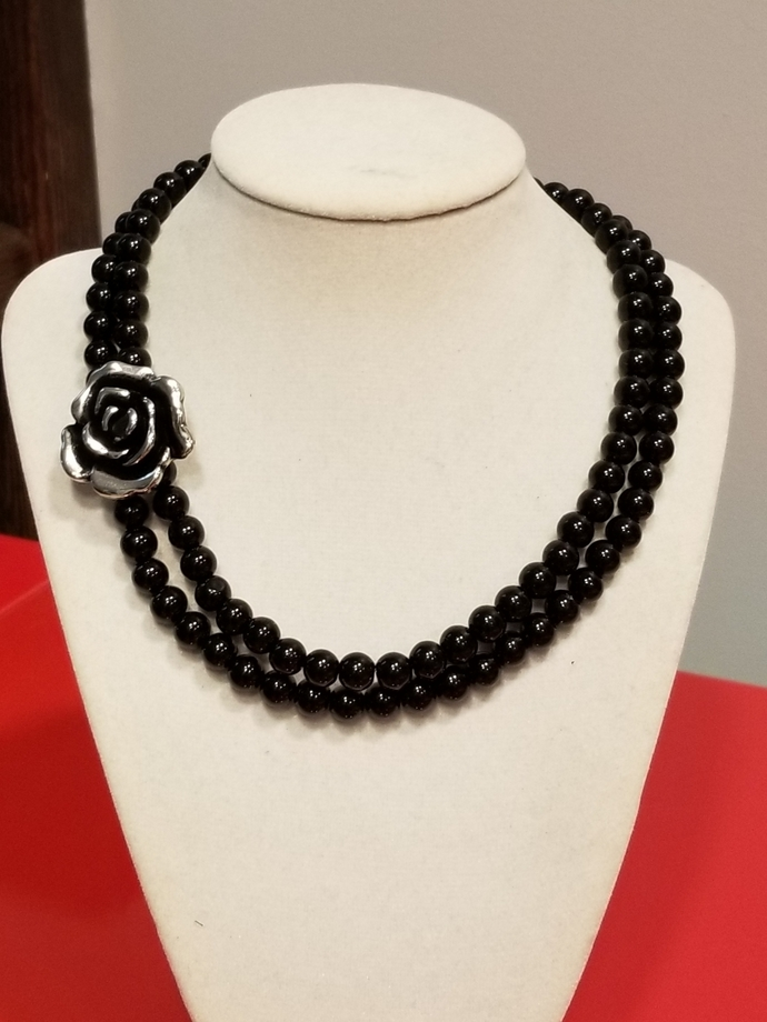 Black pearls necklace,  chanel style necklace, anniversary gift, birthday gift,