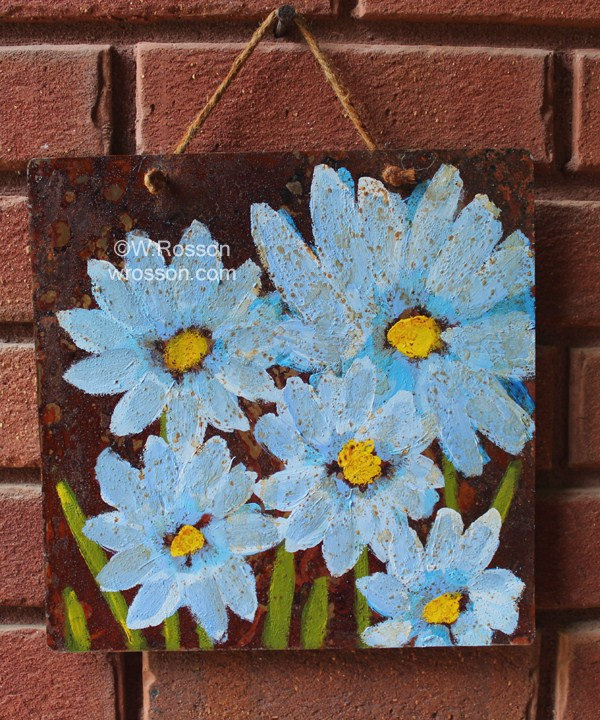 Blue Daisy, Yellow Center, Flowers On Rusted Tin, Original Art, Original