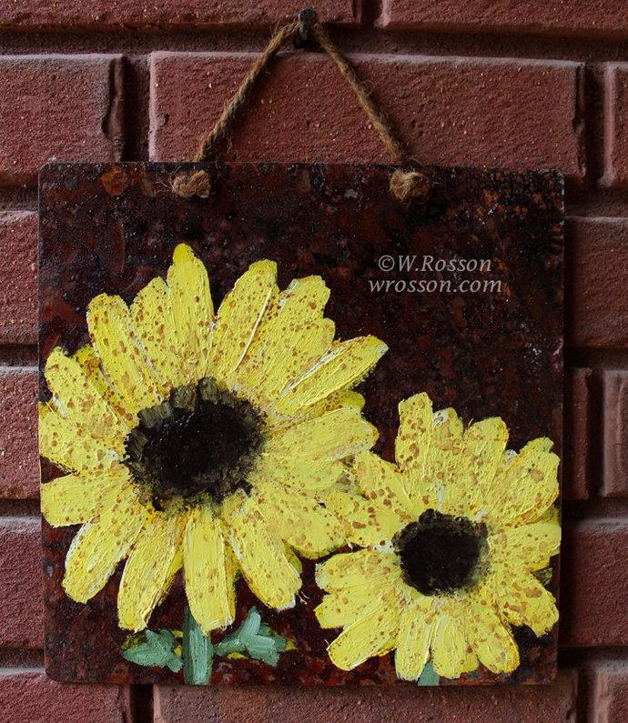 Sunflower Paitning, On Rusted Tin, Original Art, Original Painting, Winimir,