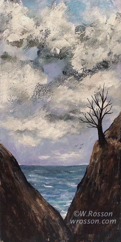 Seascape, Sea Birds, Ocean, Clouds,  Bare Tree, Original Landscape Painting,