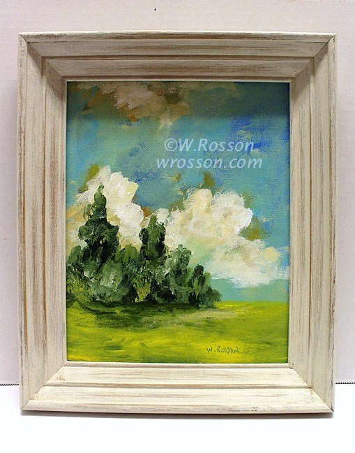 Blue Sky, Trees, Cloud, Original Landscape Painting, Framed Painting, Recycle,