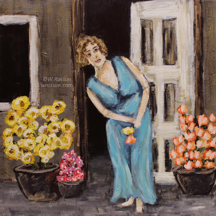 Maryanne welcomes a hesitant spring, Original Painting, Figure Painting, Woman,