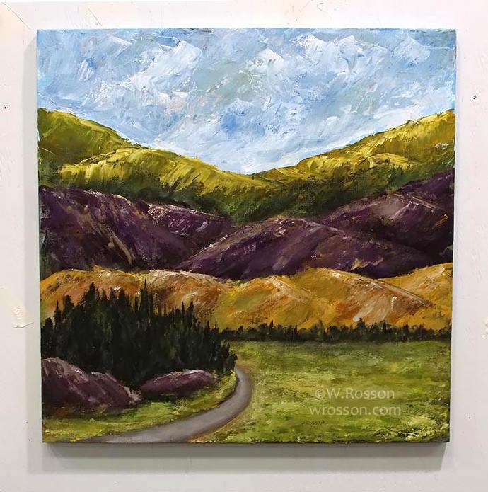 Original Mountain Painting, Travel, Escape, Original art, Winjimir, Square