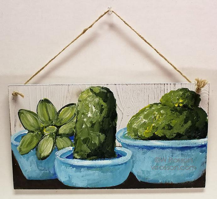 Succulents and Cactus Painting, Original Art, Original Painting, Cactus