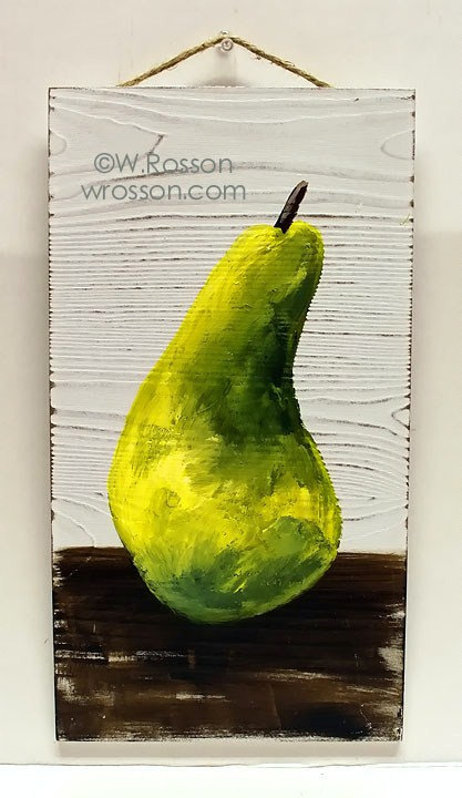 Green Pear on Wood Panel, Kitchen Decor, Original Art, Original Painting, Pear