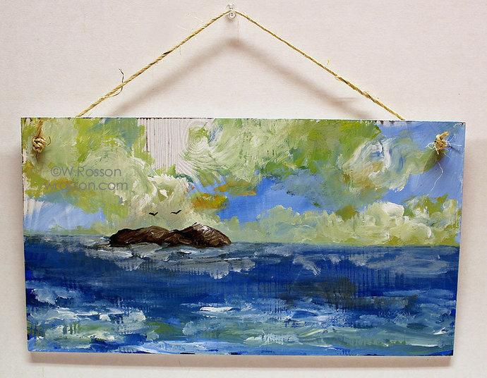 Seascape on Wood Panel, Beach House, Summer Decor, Original Art, Original