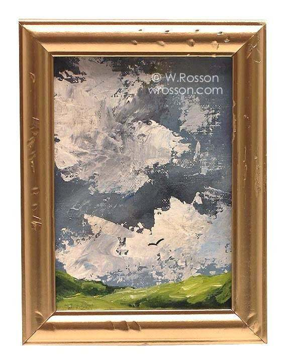 Storm Clouds, Green Hills, Bird, Stormy Landscape Painting, Framed Painting,
