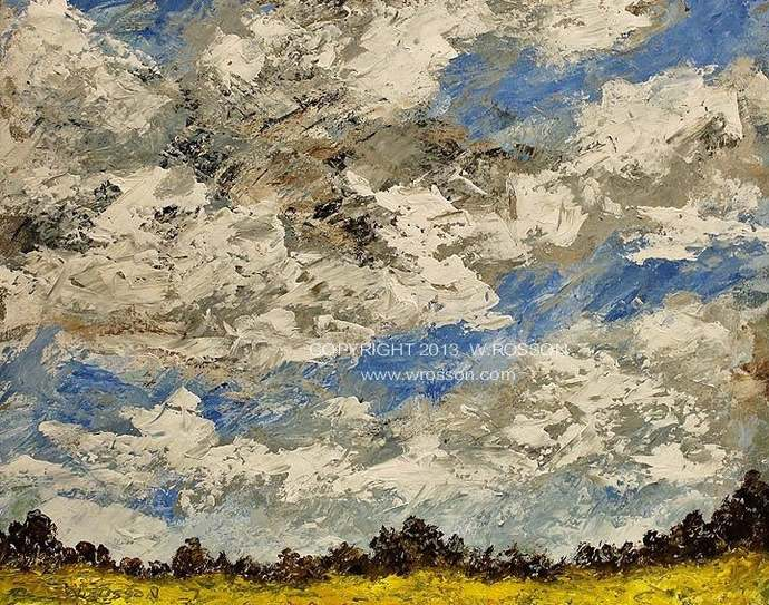 Original Cloud Painting, Landscape Painting, Cloudy Day, Blue Sky with Clouds,
