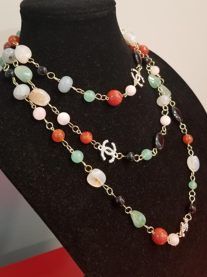 Gemstone necklace, designer jewelry, vintage style design, Tourmaline,