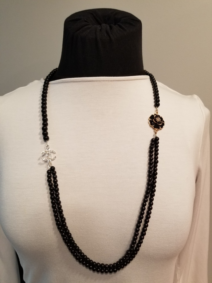 Chanel style, fashion jewelry, black pearls necklace,camellia flower brooch,