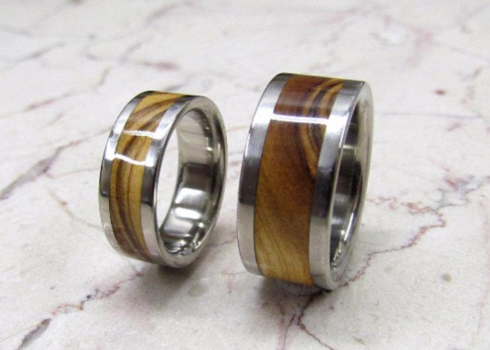 Titanium Exotic Bethlehem Olivewood His & Hers Ring Set