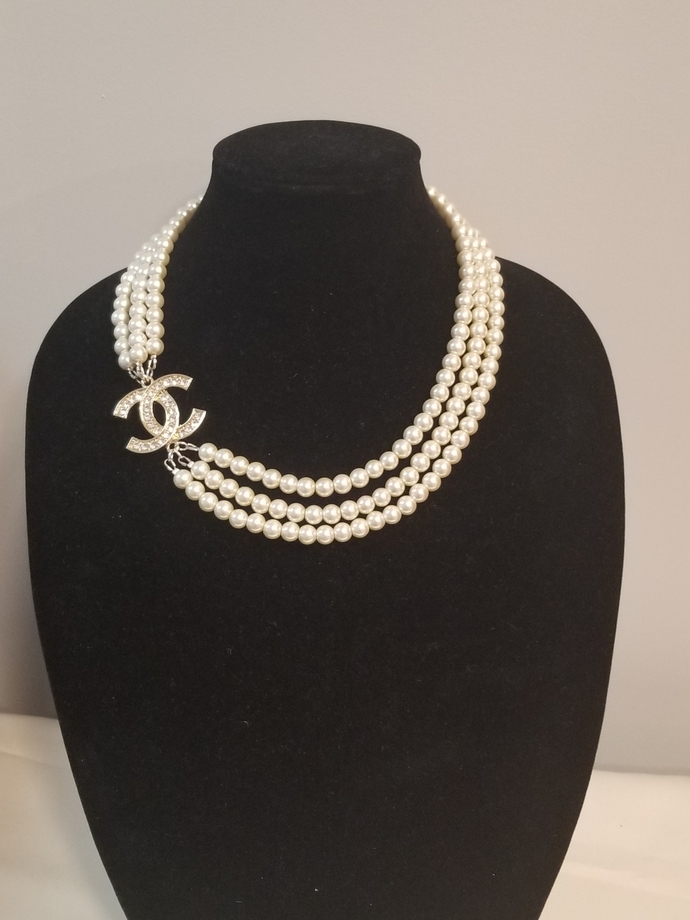 Designer inspired necklace ,white pearls necklace, wedding necklace ,bridal