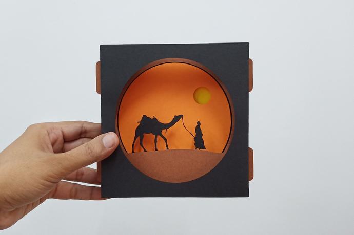 Desert safari,Camel safari 3d tunnel card,Camel Shadow card,DIY Card,Vector