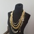 Designer jewelry, fashion jewelry necklace, gold tone necklace, white pearls,