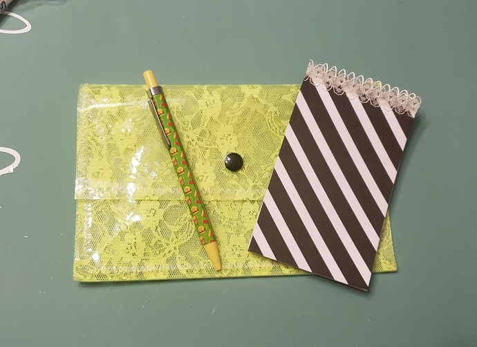 Bright yellow lace clear vinyl pouch set