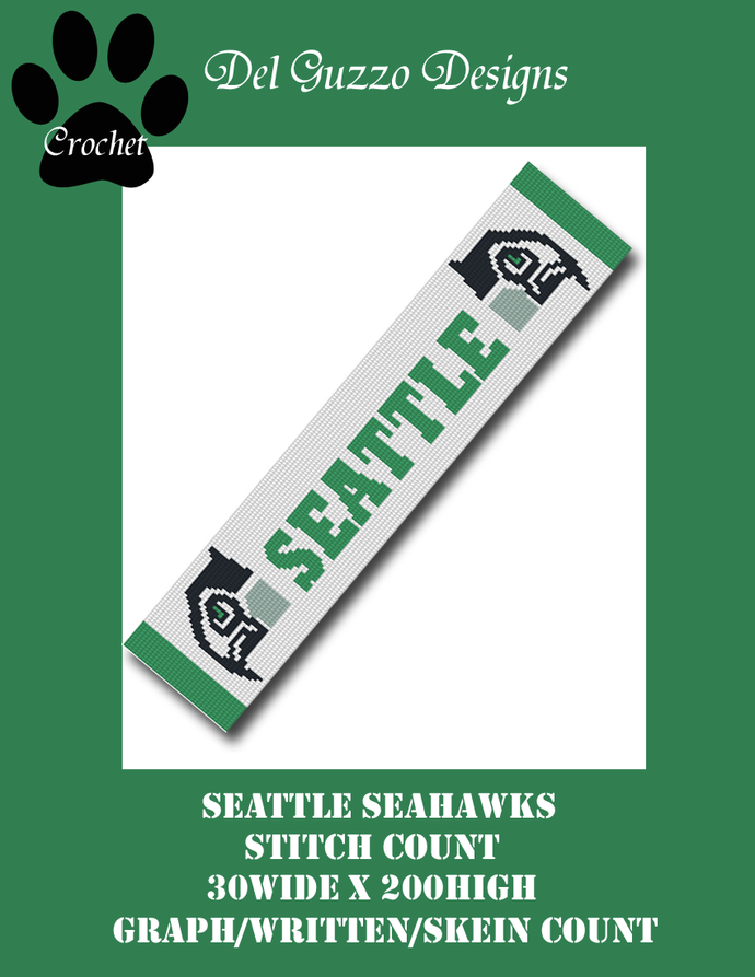 Seattle Seahawks Double Hawk Scarf 30x200
